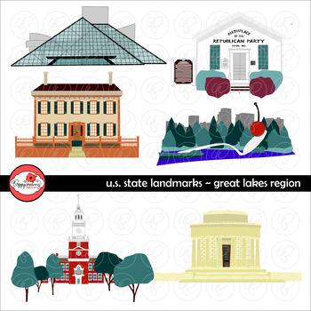 U.S. State Landmarks Great Lakes Region Clipart by Poppydreamz