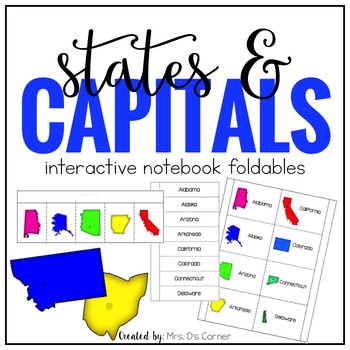 US States and Capitals Interactive Notebook Foldables