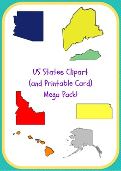 US States Clipart and Printable Cards Mega Pack - All Stat