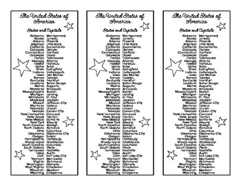 U.S. States and Capitals Bookmark (Black and White)