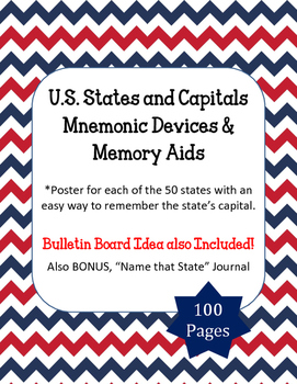 U.S. States and Capitals. Mnemonics Memory Devices aids. B