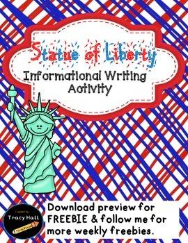 U.S. Symbol Statue of Liberty Informational Writing-Freebi