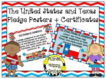 U.S. and Texas Pledge Posters & Certificates ~ Red, White