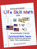 USA Differentiated Life Skill Math Pack for Special Education