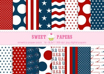 USA Digital Paper Pack - by Sweet Papers