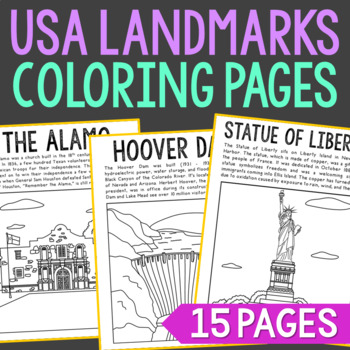 USA Landmarks Coloring Pages or Posters with Informational Text