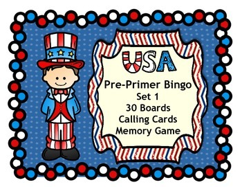 USA Patriotic Fourth of July Bingo with Dolch  Pre-Primer