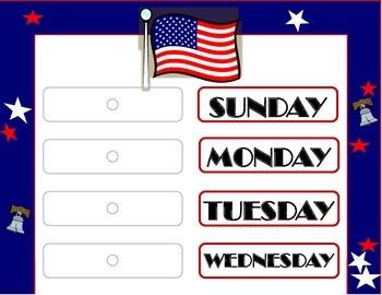 USA Patriotic Weekday Chart. Flag Weekday Chart. Patriotic