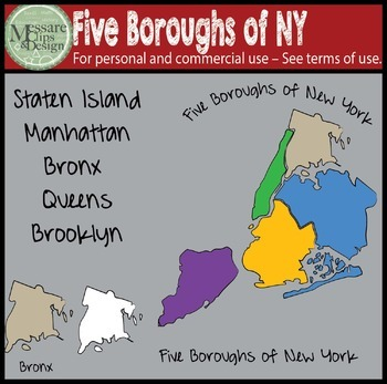 USA Sets - Five Boroughs of NYC Clip Art {Messare Clips an