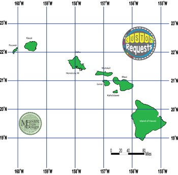 USA Sets - Hawaii State Maps with Lat/Long Overlays {Messa