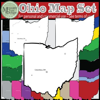 USA Sets - Ohio State Map Set {Messare Clips and Design}