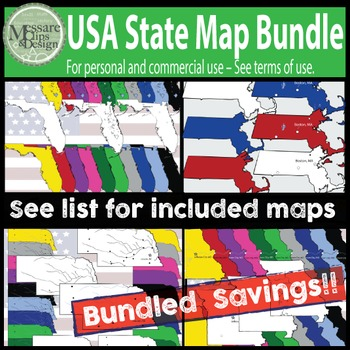 USA Maps - State Maps Bundled Savings Pack {Messare Clips