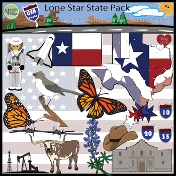 USA Sets - Texas Lone Star State Super Clip Art Set {Messa