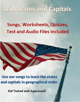 USA States and Capitals Songs, Worksheets, Quizzes and Test