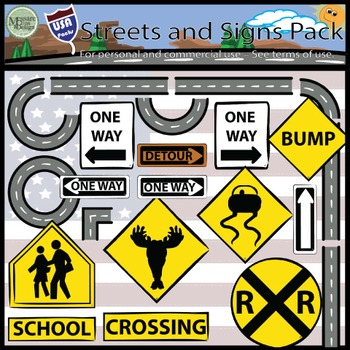 USA Streets and Signs Clip Art Pack {Messare Clips and Design}