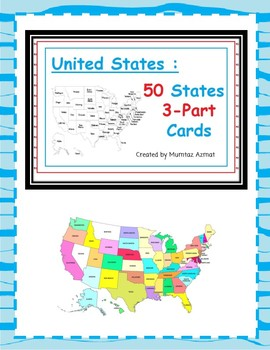 Geography : United States : U.S 50 States 3-Part Cards.