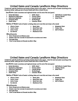 USA and Canada Landform Map