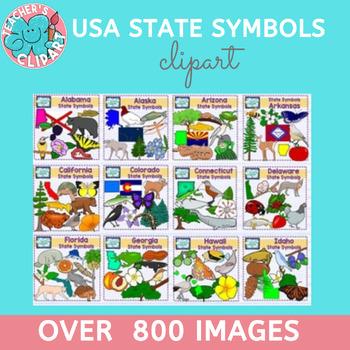 USA state symbols clipart BUNDLE - A to M - Social Studies