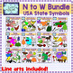 USA state symbols clipart GROWING BUNDLE (N to W)