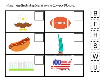 USA themed Match the Beginning Sound preschool educational