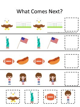 USA themed What Comes Next preschool educational game.  Be