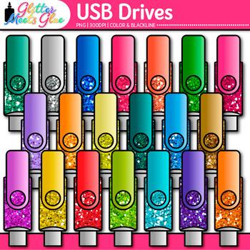 USB Drives Clip Art {Rainbow Glitter Flash Devices for Cla