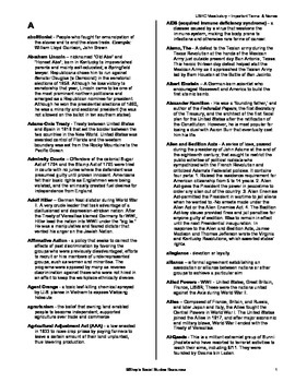 US History Important People and Terms Defintions