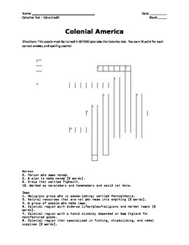 USI.5 Colonial America Crossword