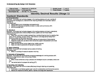UbD Response to Literature Unit - 1st/2nd grade