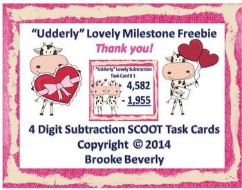 """Udderly"" Lovely 4-Digit Subtraction Freebie"