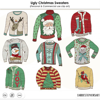 Ugly Christmas Sweater Party ClipArt, Tacky Sweaters, Fest