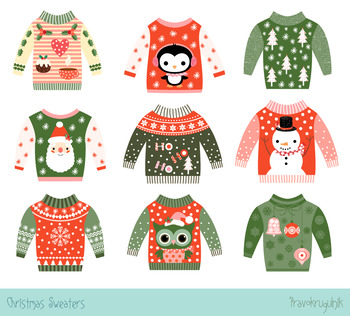 Ugly Christmas sweaters clipart set, Cute party holiday sw
