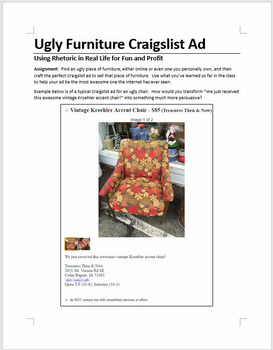 Ugly Furniture Craigslist Ad: Fun writing assignment