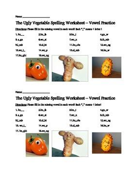 Ugly Vegetable Vowel Practice - 2ND GRADE TREASURES!