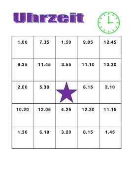Uhrzeit (Time in German) Bingo