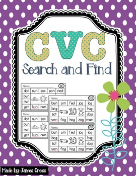 CVC and Word Family Word Work Search and Find