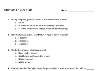 Ultimate Frisbee Quiz & Study guide