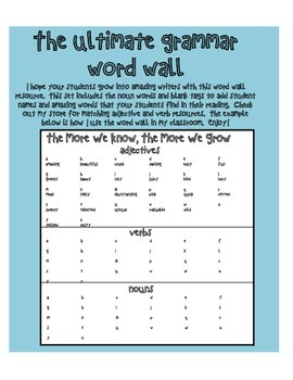 Ultimate Grammar Word Wall - Nouns - Language Arts - Writing