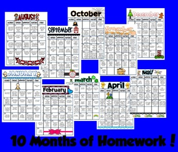 Ultimate Homework Bundle - August - May Months!