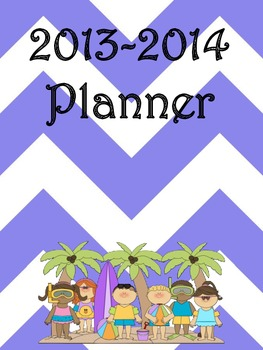 Ultimate Teacher Purple Beach Chevron 2013-2014 Planner -