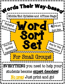 Words Their Way Based Word Sort Set-Middle/End Syllables a