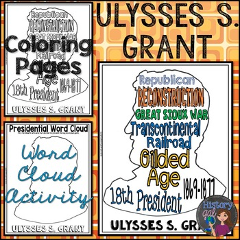 Ulysses S. Grant Coloring Page and Word Cloud Activity
