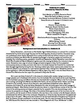 Umberto D. Film (1952) Study Guide Movie Packet