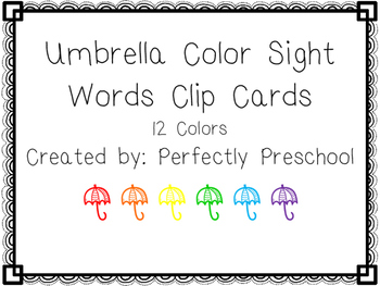 Umbrella Color Sight Word Clip Cards