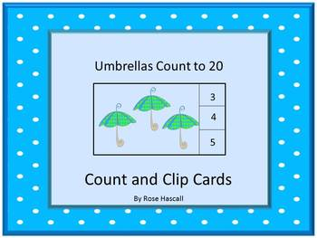 Task Cards-Spring Counting to  20  Count and Clip Cards Ma