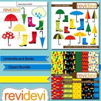 Umbrella and Boots Clip art Bundle (3 packs) clipart and d