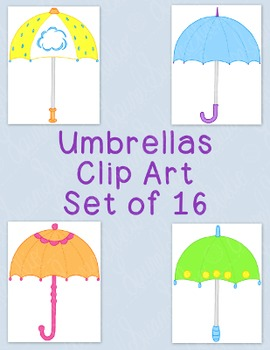 Umbrellas Clip Art Bundle Spring April PNG JPG Blackline C