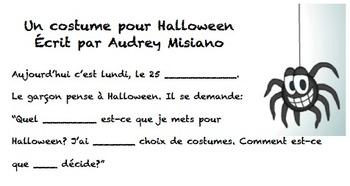 Un costume pour Halloween--Cloze Activity