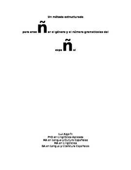 Un método estructurado para enseñar género y número gramat