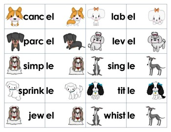 Unacceted Final Syllable Sort & Game -le, -el, -il, -al